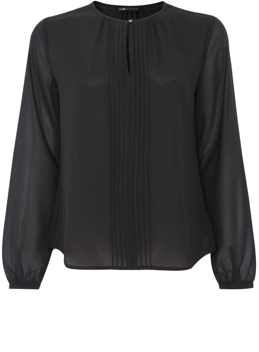 21411085/36005/2900NСтильная женская блузка oodji Collection выполнена из 100% полиэстера. Модель с круглым вырезом горловины и длинными рукавами спереди застегивается на пуговицу.