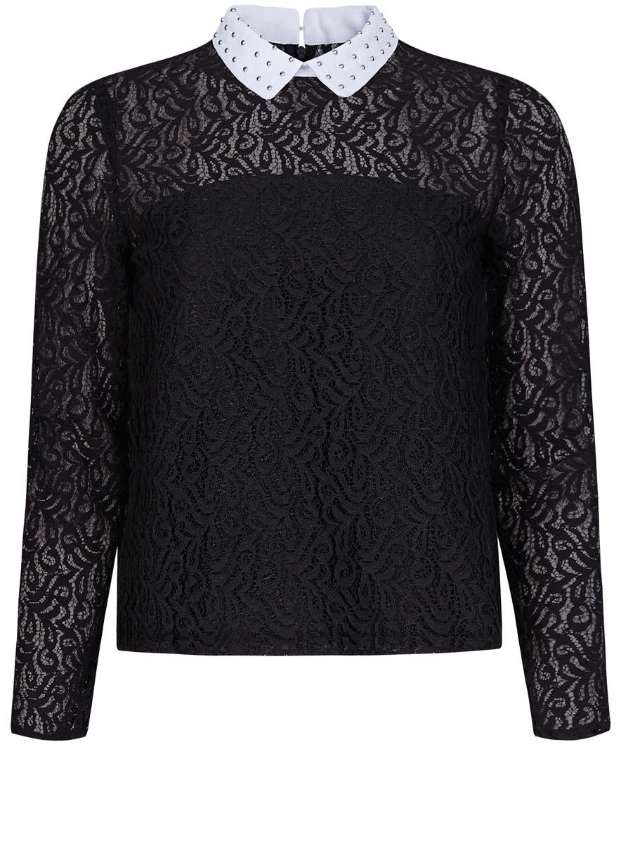 Блузка21411092-1/45967/1200NСтильная женская блузка oodji Collection выполнена из комбинированного материала. Модель с отложным воротником и длинными рукавами сзади застегивается на молнию и крючок.