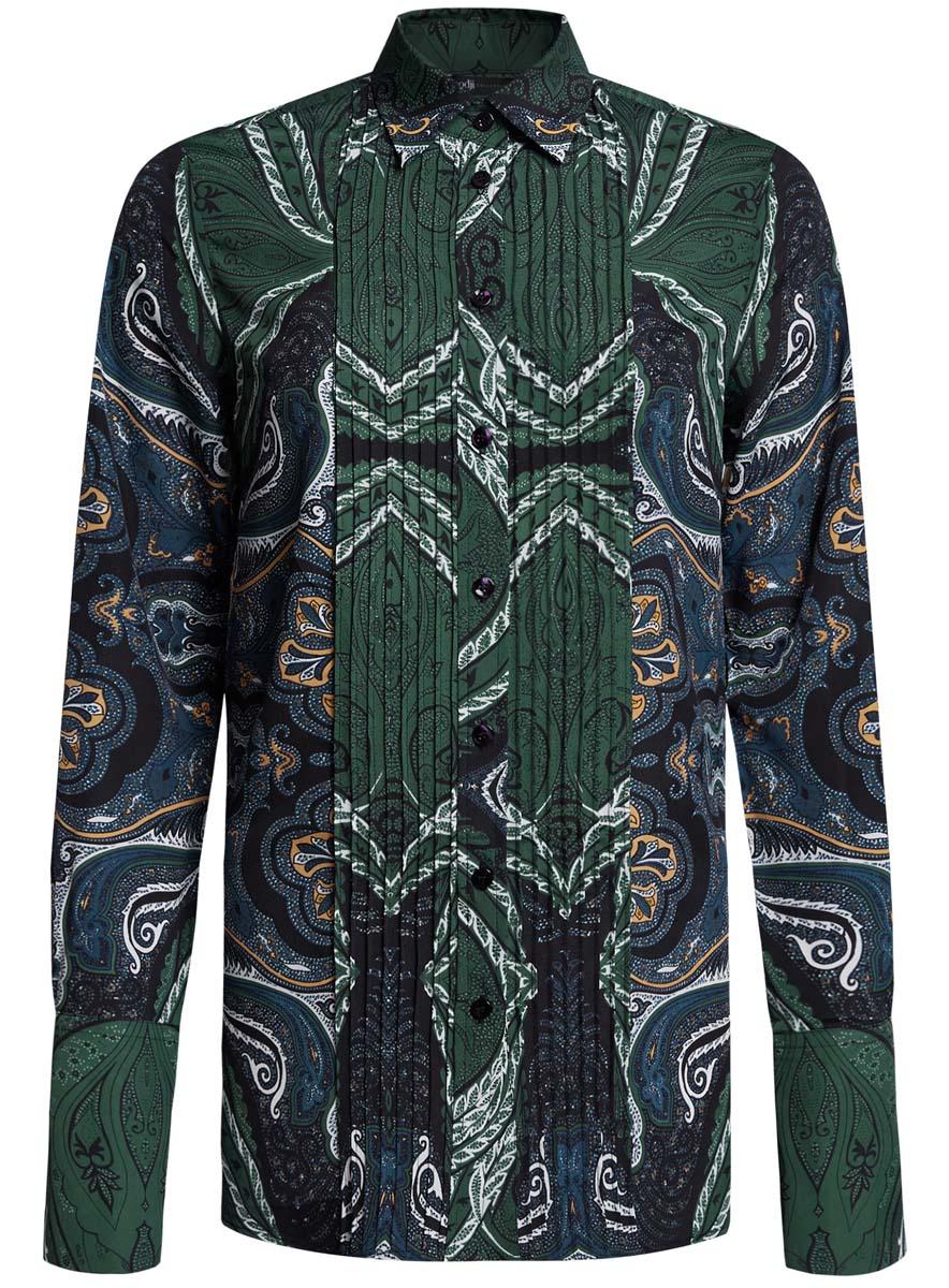 21411110/42549/1200NЖенская блузка oodji Collection исполнена из легкой ткани приталенного кроя. Блузка имеет длинные рукава с отложными манжетами, классический воротничок. Застегивается на пуговицы спереди и на манжетах.