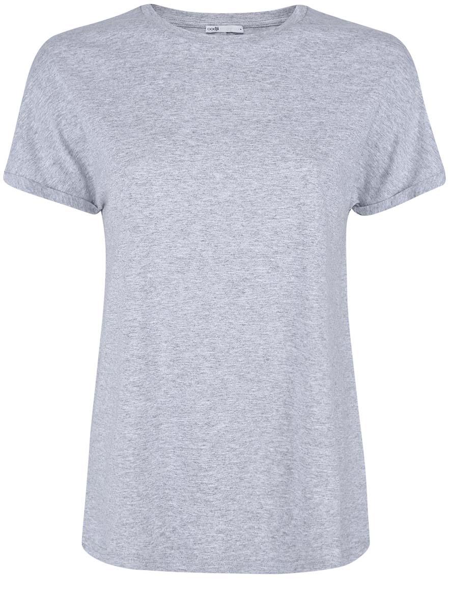 Футболка24708003B/46154/1000NМодная женская футболка oodji Collection изготовлена из натурального хлопка. Модель с круглым вырезом горловины и короткими цельнокроеными рукавами выполнена в лаконичном дизайне. Края рукавов оформлены декоративными отворотами.