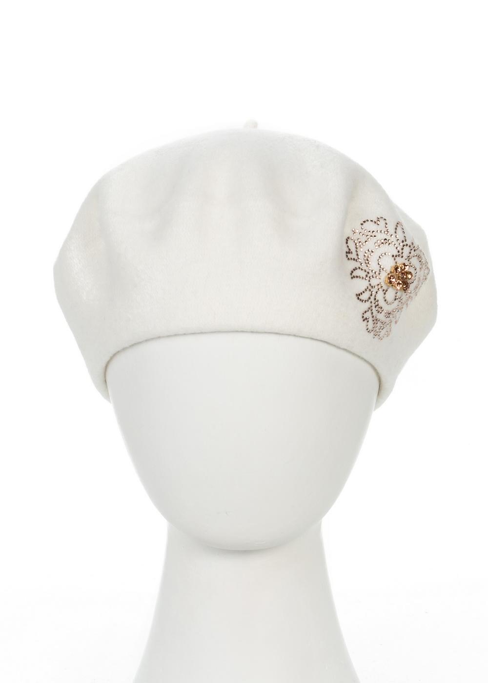 998465Теплый берет Avanta Nea, выполненный из натуральной шерсти, отлично дополнит ваш образ в холодную погоду. Модель оформлена оригинальным узором выложенным из страз. Такой берет, составит идеальный комплект с модной верхней одеждой, в нем вам будет уютно и тепло! Уважаемые клиенты! Размер, доступный для заказа, является обхватом головы.
