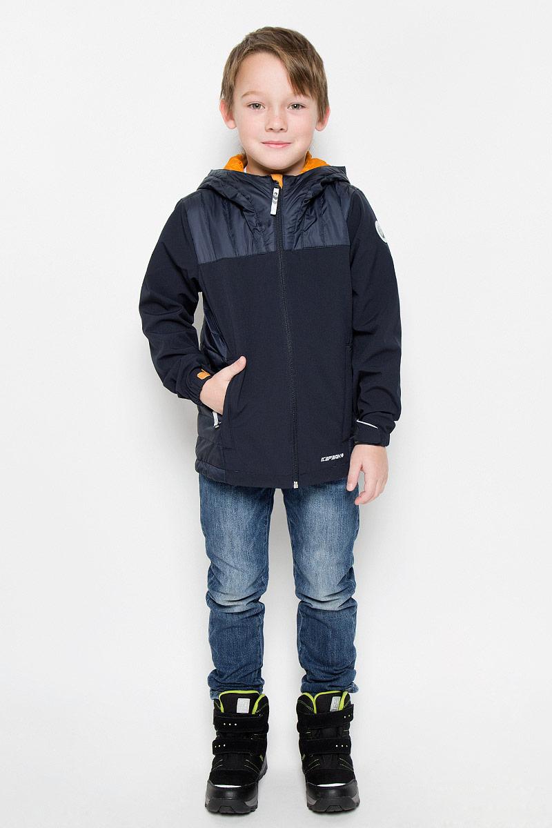 651805682IVКуртка, изготовленная из водоотталкивающей и ветрозащитной ткани. В качестве подкладки используется полиамид, на рукавах полиэстер. Капюшон и бока изделия утеплены тонким слоем синтепона. Куртка с капюшоном застегивается на молнию. Капюшон не отстегивается. Манжеты дополнены хлястиками на липучках. Куртка дополнена двумя врезными карманами на застежках-молниях. Изделие дополнено светоотражающим элементом для безопасности ребенка в темное время суток.