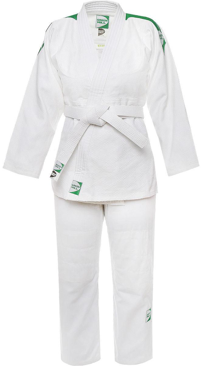 Кимоно для дзюдоJSC-10395Кимоно для дзюдо Green Hill Club, состоящее из куртки и брюк, выполнено из натурального хлопка. Просторная куртка с глубоким запахом и рукавом 7/8 дополнена поясом. Нижняя часть модель по бокам дополнена разрезами. Укороченные брюки особого покроя имеют эластичный пояс на талии.