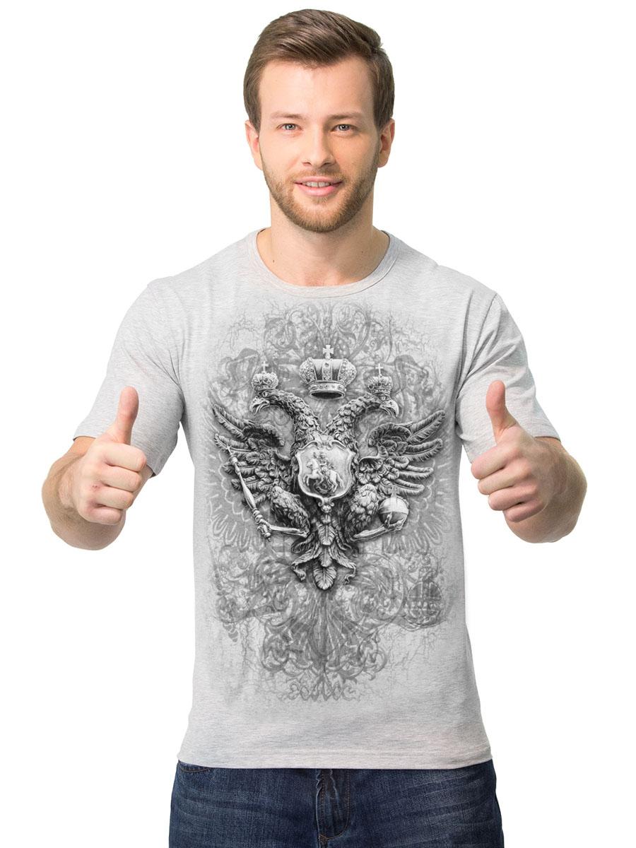 2-41Мужская футболка MF Герб эстетика с короткими рукавами и круглым вырезом горловины выполнена из хлопка с добавлением полиэстера. Оформлена модель оригинальным принтом.