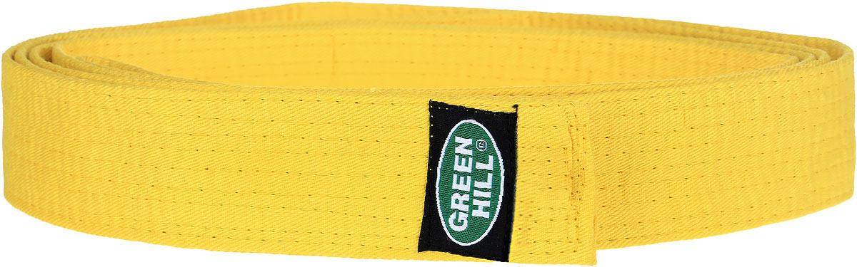 Пояс для единоборствG-1014HПояс для карате Green Hill - универсальный пояс для кимоно. Пояс выполнен из плотного хлопкового материала с многорядной прострочкой. Модель дополнена текстильной нашивкой с названием бренда.