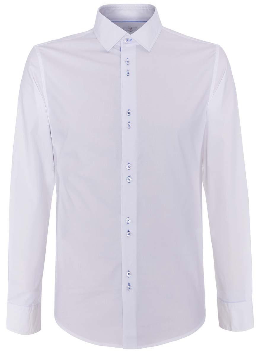 Рубашка3L110193M/39373N/1000OМужская рубашка oodji выполнена из натурального хлопка. Рубашка кроя slim с длинными рукавами и отложным воротником застегивается на пуговицы спереди. Манжеты рукавов также застегиваются на пуговицы.
