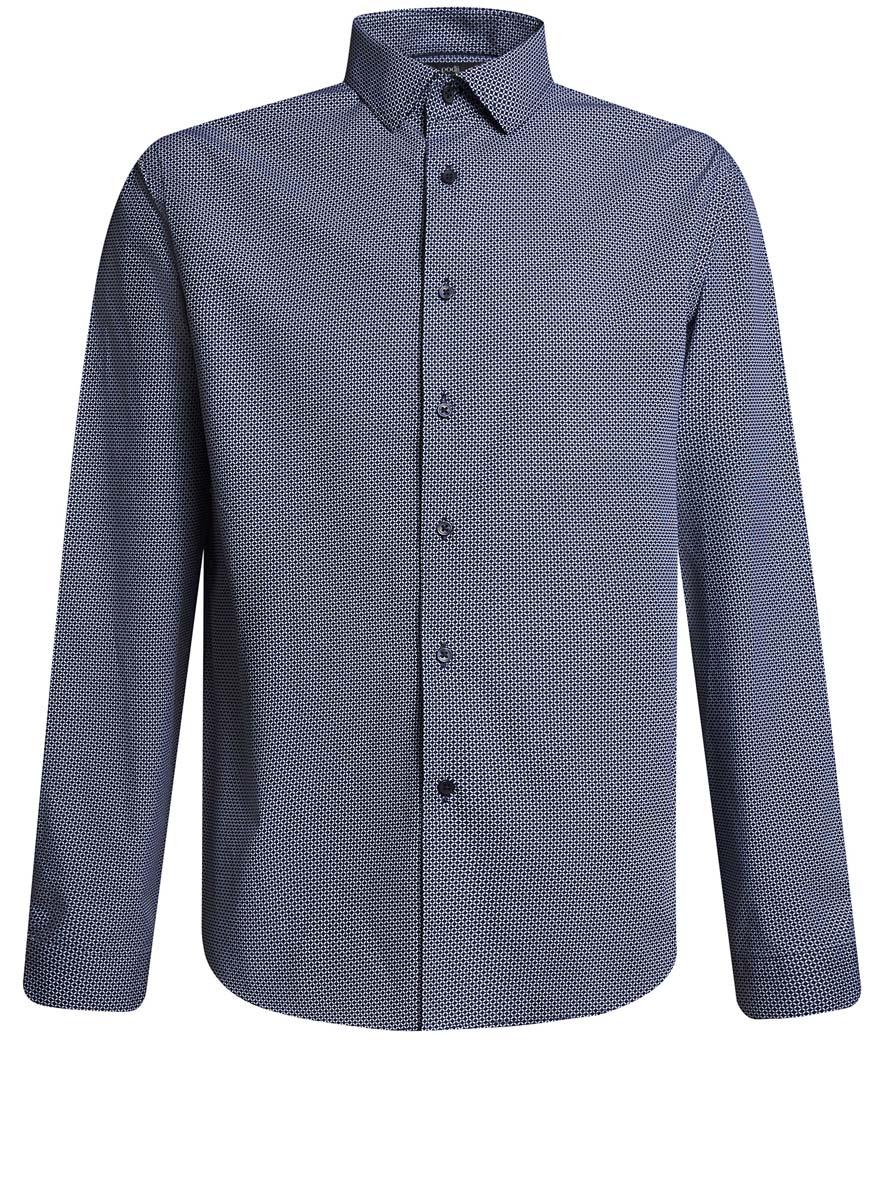 3L110229M/44425N/1079GСтильная мужская рубашка oodji выполнена из натурального хлопка. Модель с отложным воротником и длинными рукавами застегивается на пуговицы спереди. Манжеты рукавов дополнены застежками-пуговицами. Оформлена рубашка мелким узором.