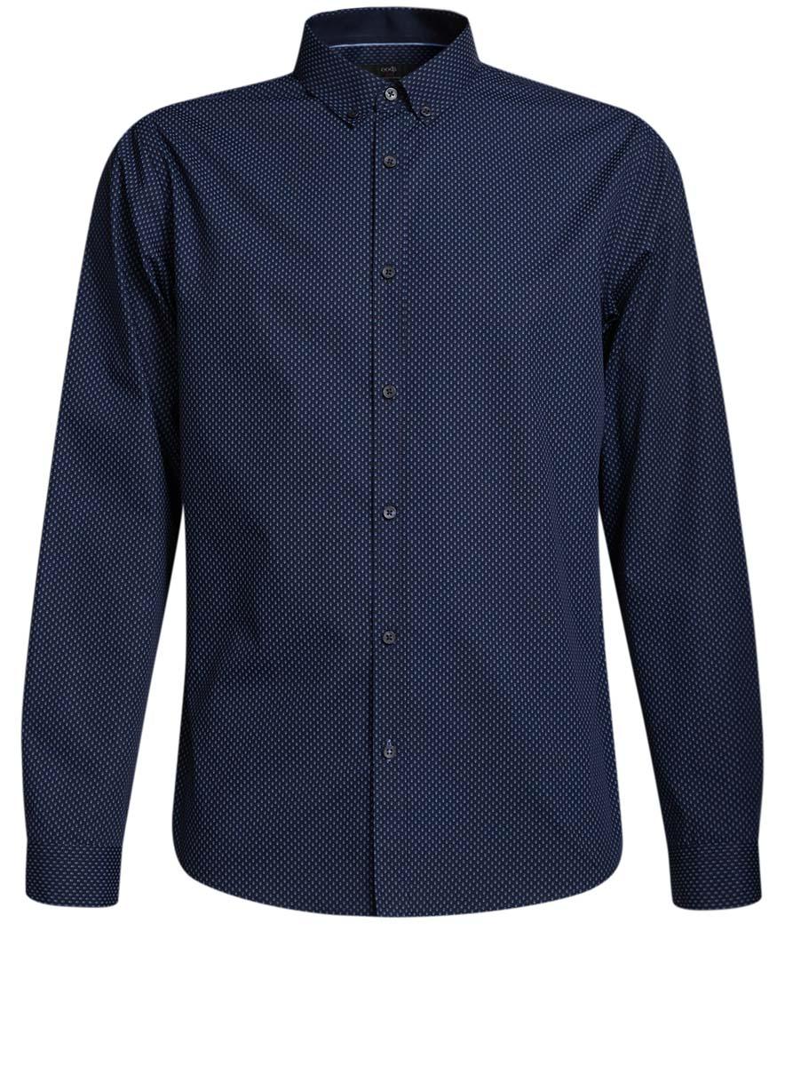 Рубашка3L110230M/44494N/7975GСтильная мужская рубашка oodji выполнена из натурального хлопка. Модель с отложным воротником и длинными рукавами застегивается на пуговицы спереди. Манжеты рукавов дополнены застежками-пуговицами. Оформлена рубашка оригинальным принтом в мелкий узор.