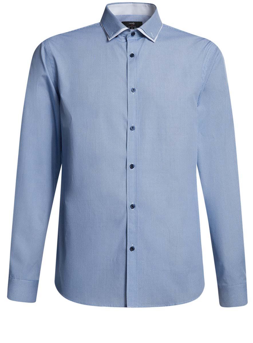 Рубашка3L110231M/19370N/1075GСтильная мужская рубашка приталенного кроя выполнена из натурального хлопка. Модель с отложным воротником и длинными рукавами застегивается на пуговицы.