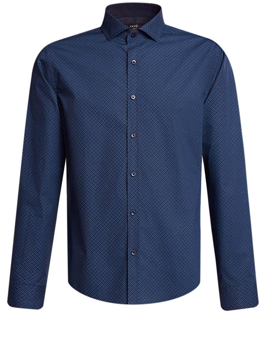 Рубашка3L110239M/19370N/7975GСтильная мужская рубашка oodji выполнена из натурального хлопка. Модель с отложным воротником и длинными рукавами застегивается на пуговицы спереди. Манжеты рукавов дополнены застежками-пуговицами. Оформлена рубашка оригинальным узорчатым принтом.