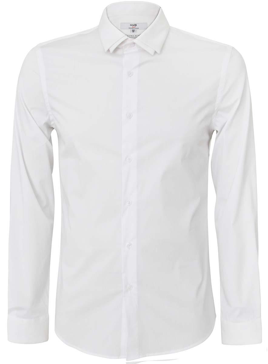 Рубашка3L140104M/34146N/1000NМужская рубашка oodji выполнена из хлопка с добавлением полиамида и эластана. Рубашка кроя extra slim с длинными рукавами застегивается на пуговицы спереди. Манжеты рукавов также застегиваются на пуговицы. Рубашка имеет оригинальный двойной отложной воротник.
