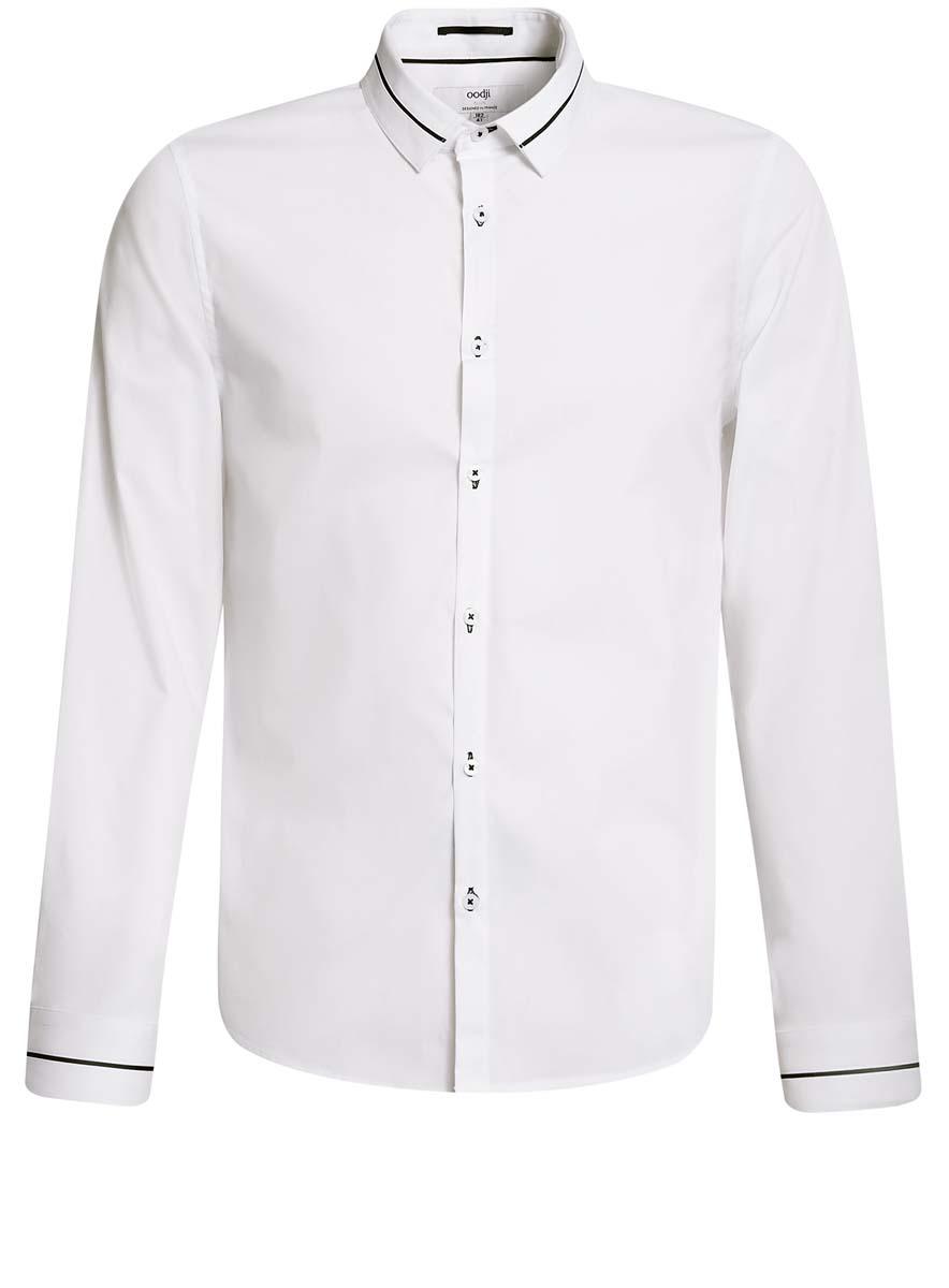 3L140111M/34146N/1029BСтильная мужская рубашка oodji выполнена из качественного комбинированного материала. Модель с отложным воротником и длинными рукавами застегивается на пуговицы спереди. Манжеты рукавов дополнены застежками-пуговицами. Рубашка выполнена в лаконичном дизайне.