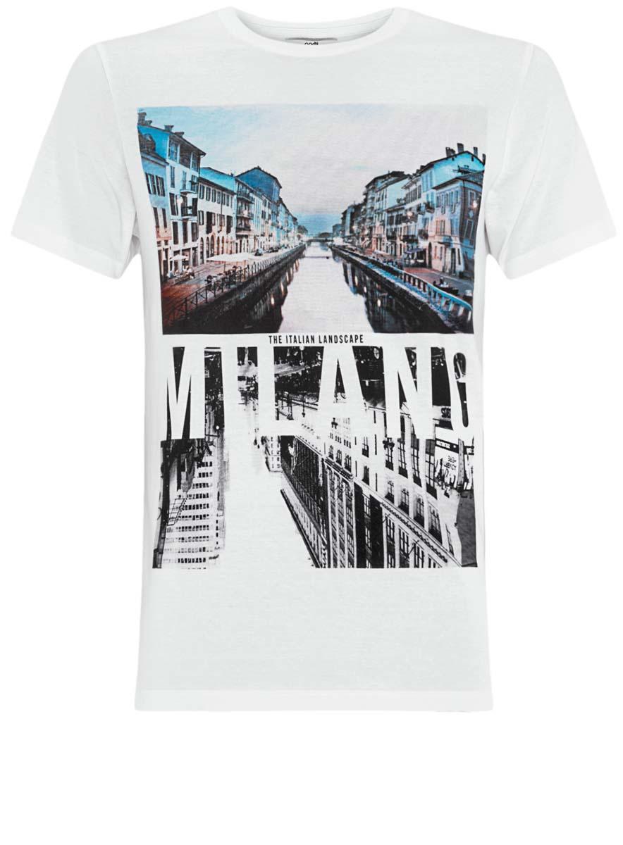 Футболка5L611292M/39274N/1075PМужская футболка oodji изготовлена из высококачественного натурального хлопка. Модель с короткими рукавами и круглым вырезом горловины украшена принтом с изображением фотографий города.
