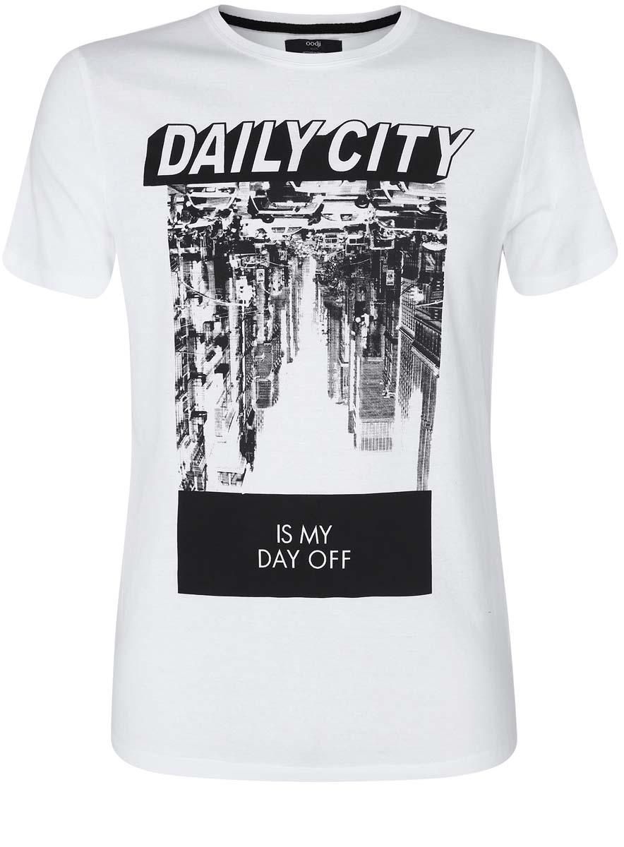 Футболка5L611293M/39485N/1029PМужская футболка oodji с короткими рукавами и круглым вырезом горловины выполнена из натурального хлопка. Футболка украшена контрастным принтом с фотографией города и надписью Daily City. Is My Day Off.