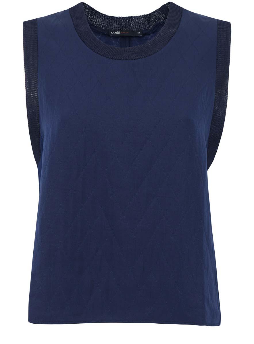 Блузка11400428/42842/7900NЖенская блузка oodji Ultra без рукавов исполнена из высококачественной текстурной ткани. Блузка имеет круглый вырез воротника и обшита текстильной резинкой по горловине и вырезам рукавов. Изделие имеет свободный крой.