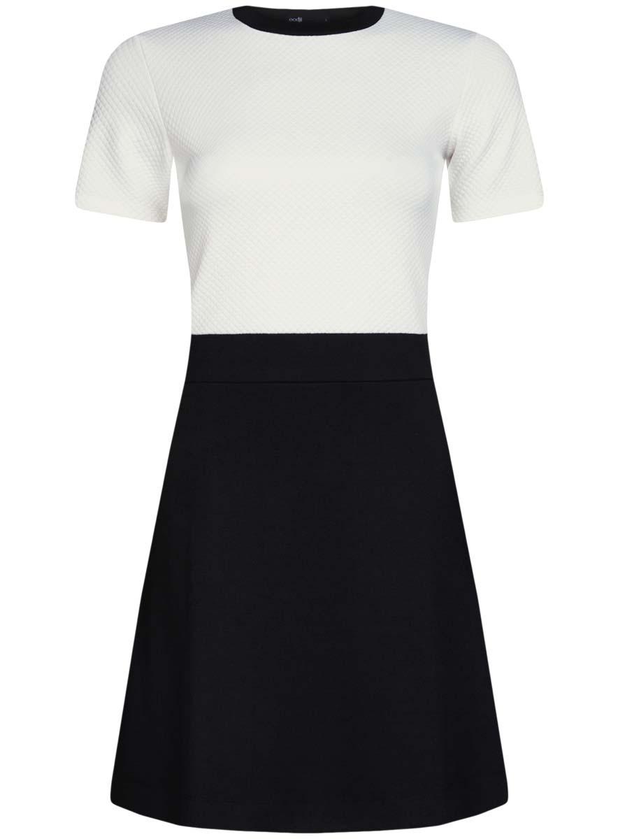 14000161/42408/2900NТрикотажное платье oodji Ultra имеет стилизованный под блузку и юбку верх и низ. Верх платья выполнен с короткими рукавами и круглым вырезом воротничка. Низ платья выполнен свободным кроем.