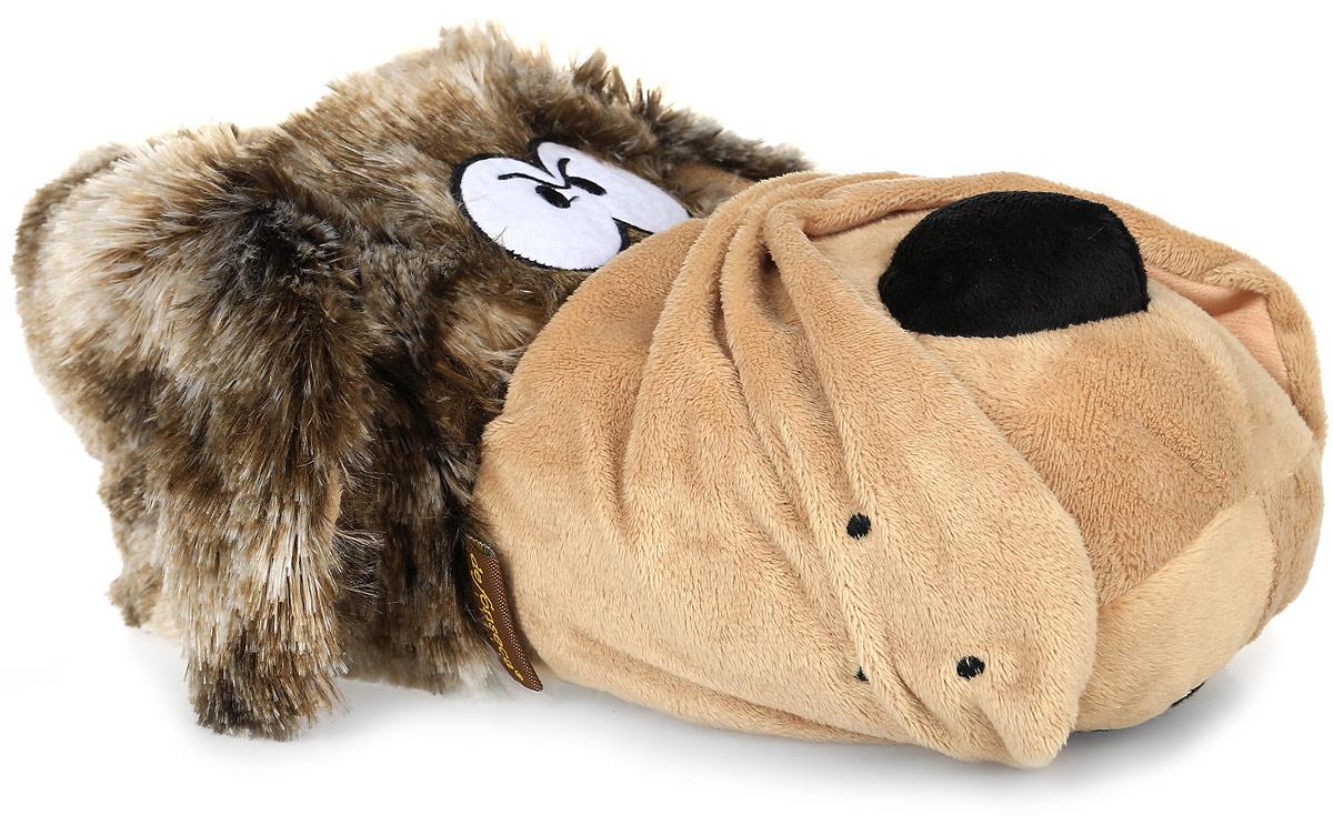 ATTENTIМужские тапки, выполненные из натурального дышащего материала в виде головы волка, станут отличным подарком. Текстильная подошва дополнена противоскользящим покрытием.