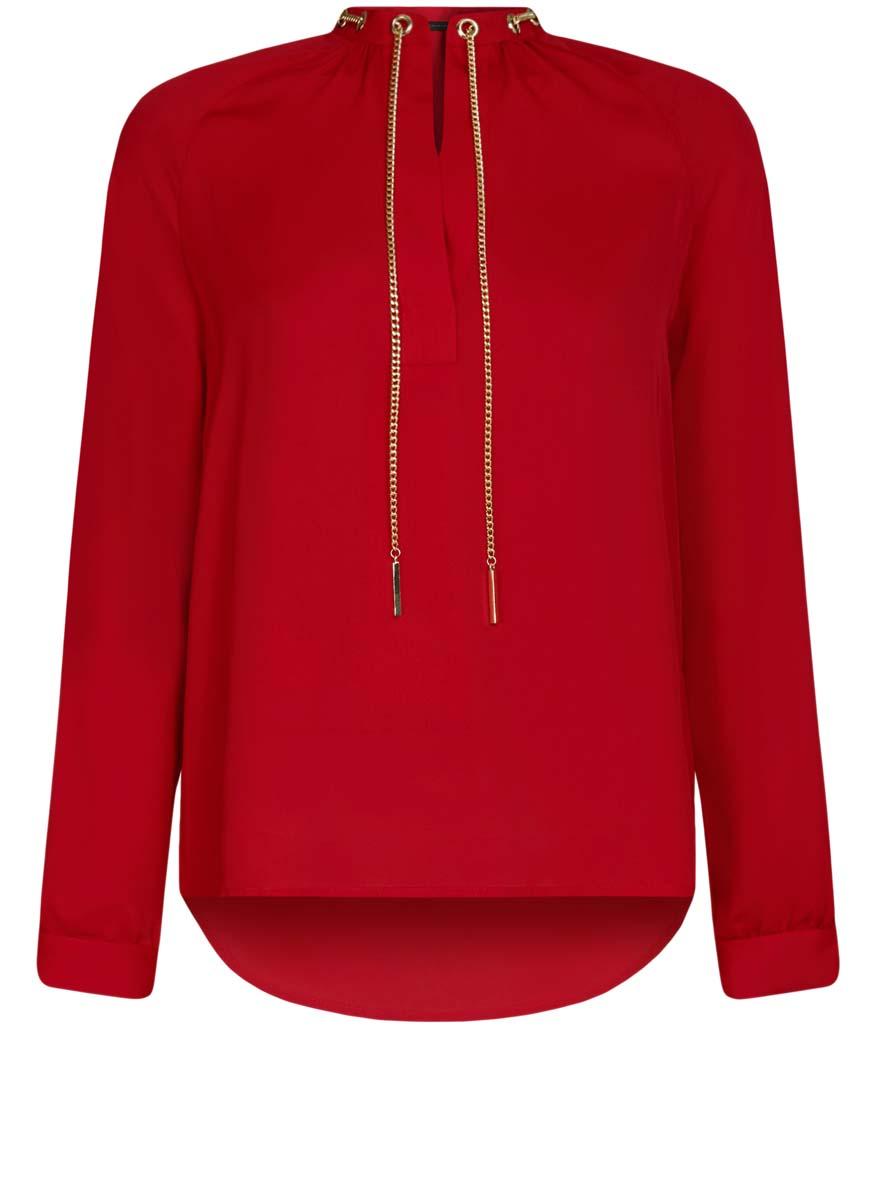 Блузка21414004/45906/4500NСтильная женская блузка oodji Collection выполнена из 100% полиэстера. Модель с V-образным вырезом горловины и длинными рукавами дополнена металлической цепочкой.