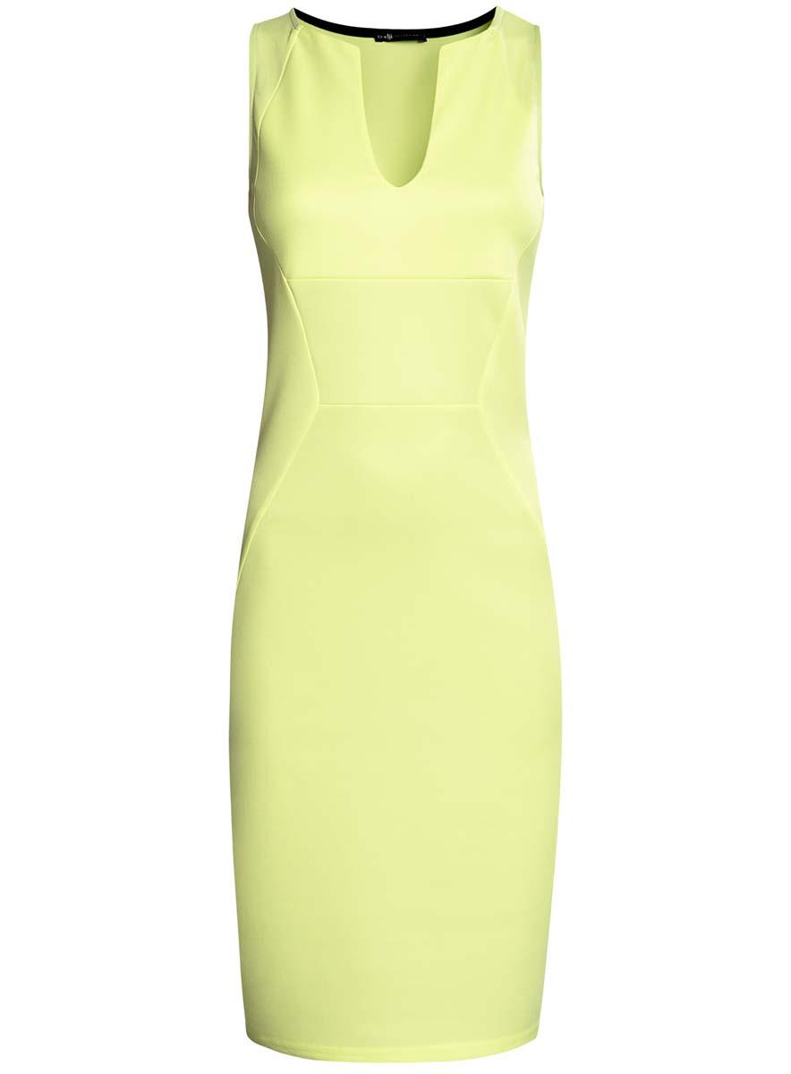 Платье24005122/42514/6700NТрикотажное платье oodji Collection полностью выполнено из полиэстера. Модель по фигуре с V-образным вырезом горловины и без рукавов.