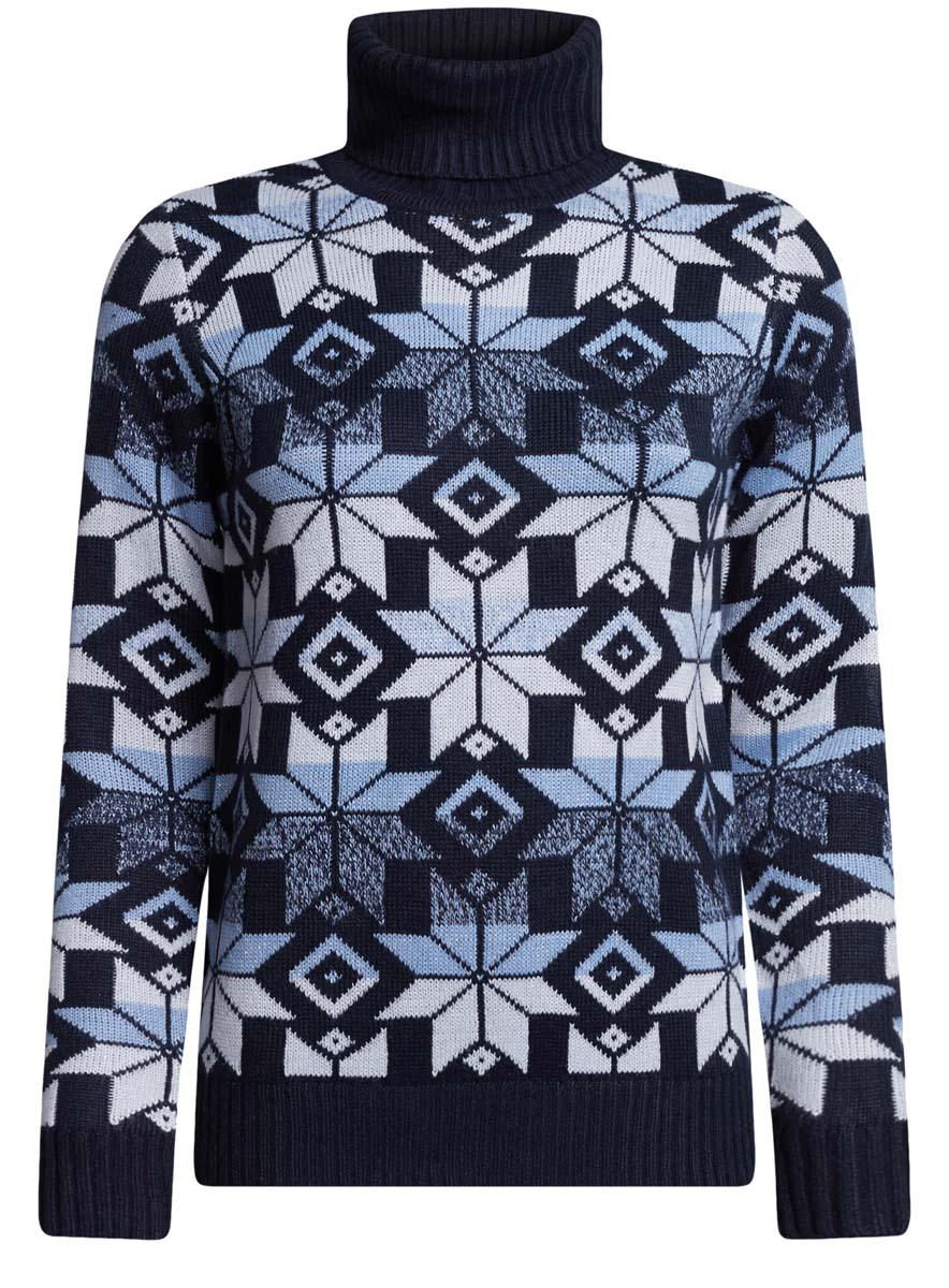 Свитер64407132-3/46178/2319JЖенский свитер oodji Ultra выполнен из высококачественного комбинированного материала. Модель с воротником-гольф и длинными рукавами оформлена оригинальным геометрическим принтом. Воротник, манжеты рукавов и низ изделия связаны резинкой.