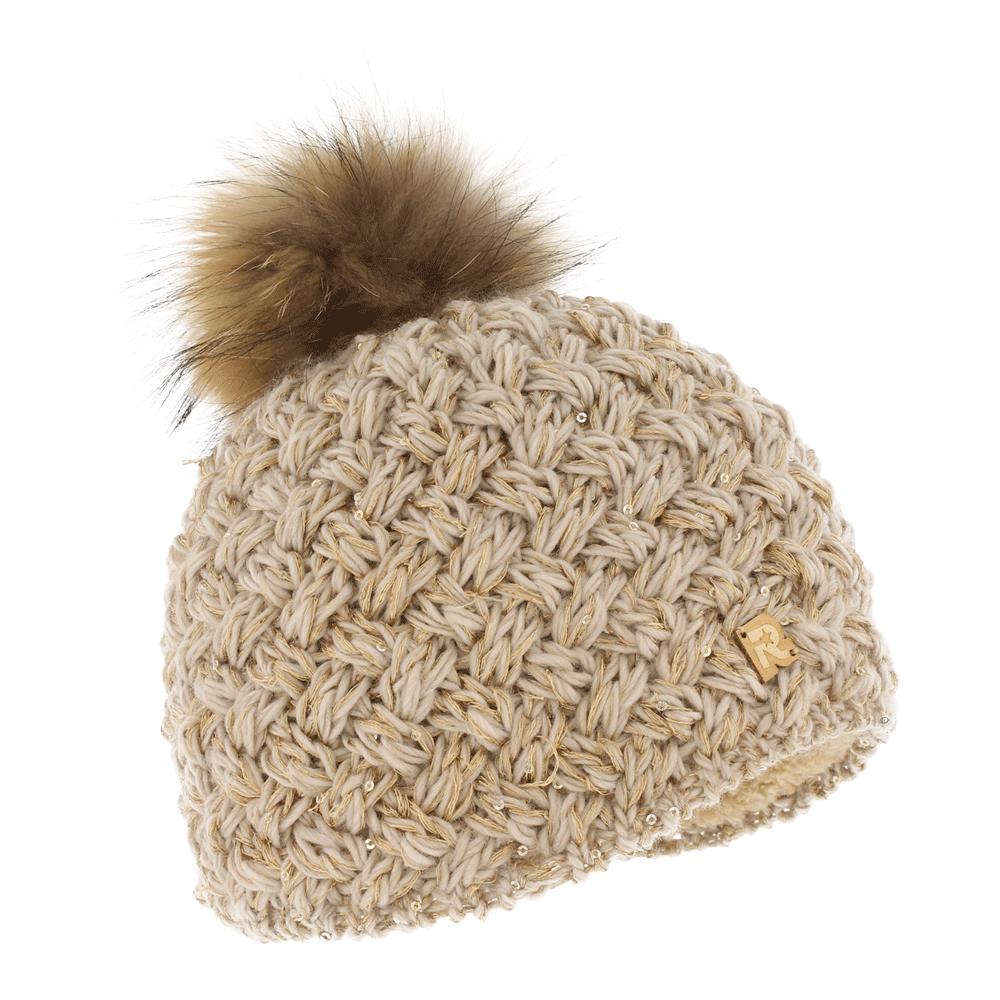 ICE 8510Теплая вязаная шапка R.Mountain выполнена из акрила. Модель оформлена пайетками и нашивкой в виде логотипа бренда. Шапка дополнена пушистым помпоном из натурального меха. Подкладка полностью выполнена из ворсистого плюша, который обеспечит тепло и комфорт.