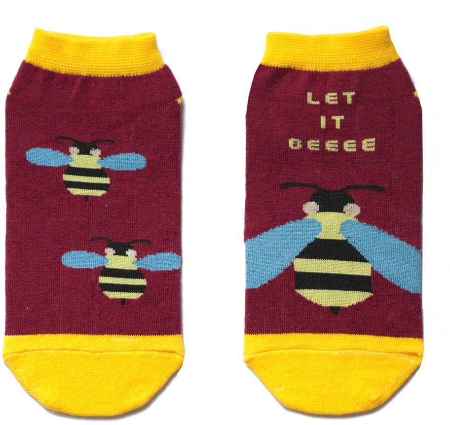 Носкиca11022Женский носки Big Bang Socks изготовлены из высококачественного хлопка с добавлением полиамидных и эластановых волокон, которые обеспечивают великолепную посадку. Удобная резинка идеально облегает ногу и не пережимает сосуды, а укороченный паголенок придает более эстетичный вид. Мысок и пятка усилены. Модель оформлена принтом с изображением осы и надписью Let it beeee.