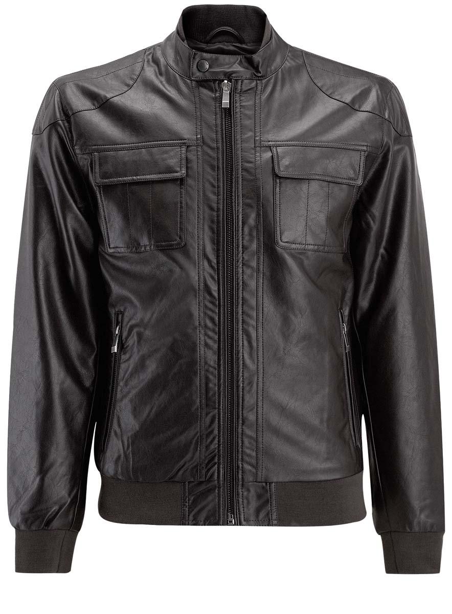 Куртка1L511043M/44374N/2900NСтильная мужская куртка oodji Lab изготовлена из вискозы с полиуретановым покрытием. В качестве утеплителя используется полиэстер. Куртка с воротником-стойка застегивается на застежку-молнию. Воротник застегивается на хлястик с кнопкой. Спереди расположены два прорезных кармана на застежках-молниях, на груди - два накладных кармана с клапанами на кнопках, с внутренней стороны - прорезной карман и накладной карман на застежках-молниях. Воротник, манжеты рукавов и низ изделия дополнены трикотажными резинками.