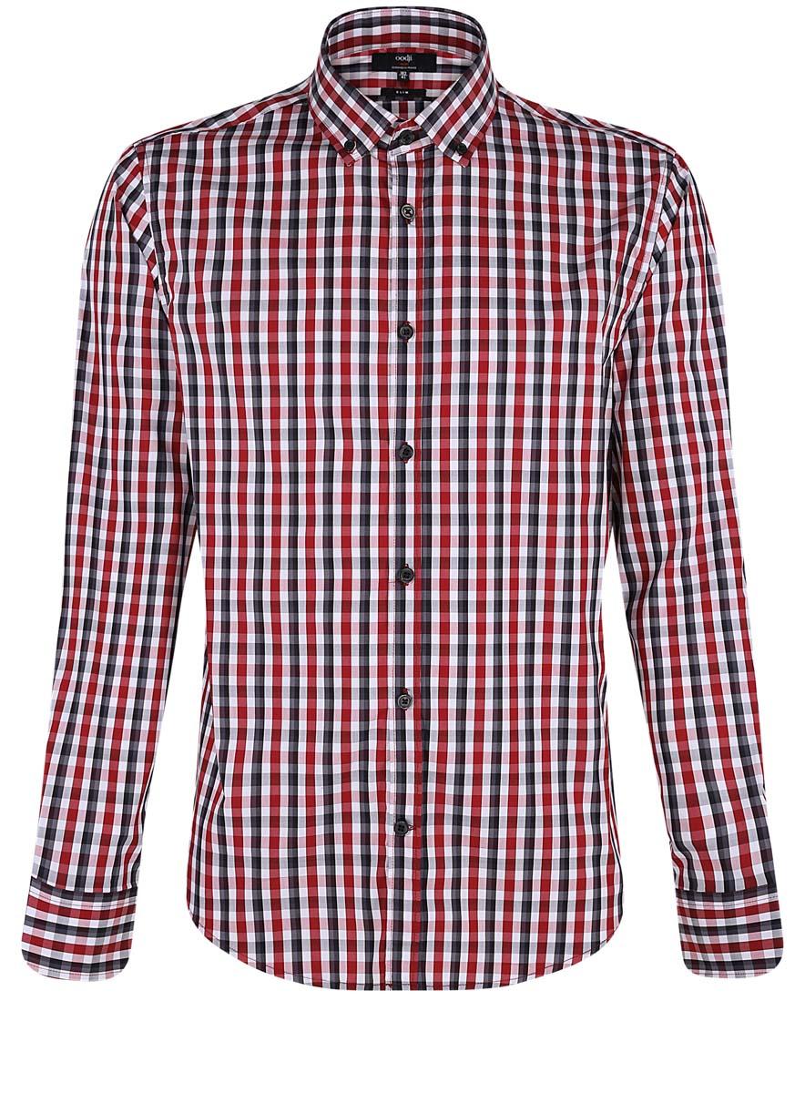 Рубашка3L110214M/39767N/4510CСтильная мужская рубашка oodji выполнена из качественного комбинированного материала. Модель с отложным воротником и длинными рукавами застегивается на пуговицы спереди. Манжеты рукавов дополнены застежками-пуговицами. Оформлена рубашка контрастным принтом в клетку.