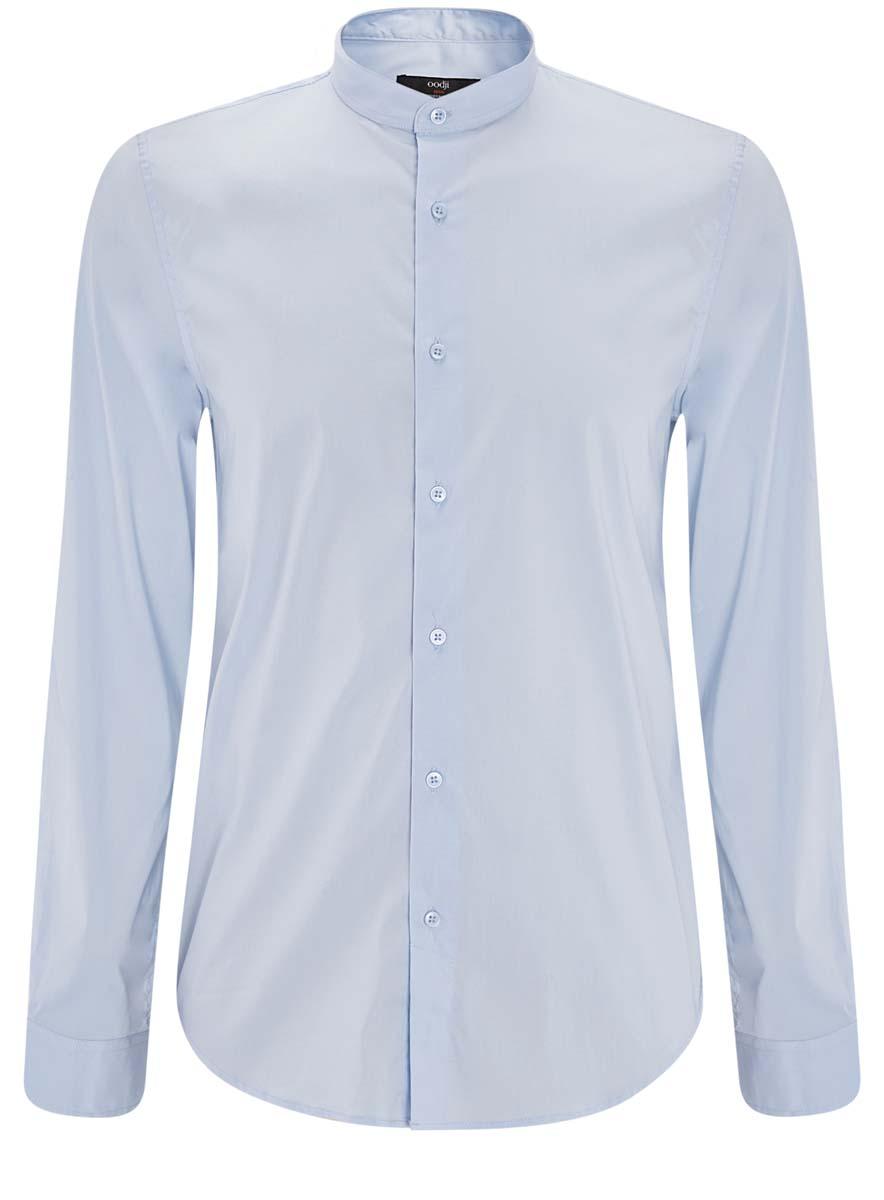 Рубашка3L140109M/34146N/7000NМужская рубашка oodji выполнена из эластичного хлопка с добавлением полиамида. Рубашка кроя extra slim с длинными рукавами и отложным воротником застегивается на пуговицы спереди. Манжеты рукавов также застегиваются на пуговицы.