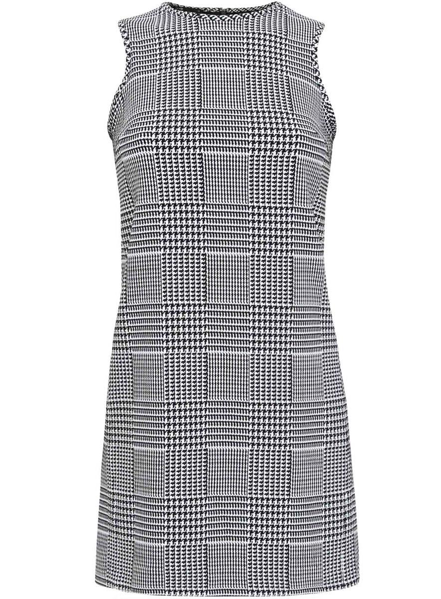 Платье11900199/43358/2912GПлатье oodji Ultra выполнено из высококачественного комбинированного материала, мягкого и приятного на ощупь. Модель с круглым вырезом горловины и без рукавов застегивается на молнию на спинке. Платье оформлено графическим принтом.