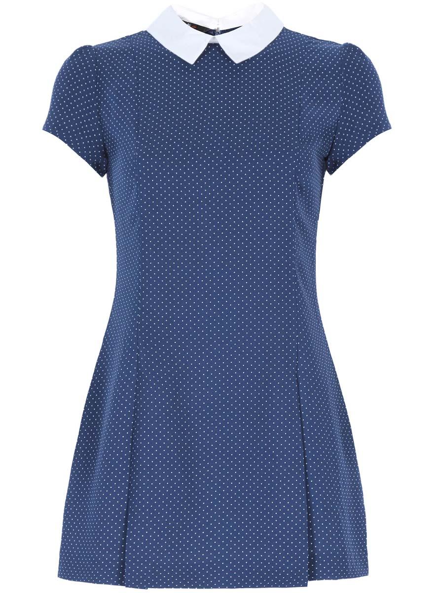 Платье11902153/45079/7512DСтильное платье oodji Ultra выполнено из 100% полиэстера. Модель с отложным воротником и короткими рукавами сзади застегивается на застежку-молнию и пуговицу. Оформлена модель принтом в горох.
