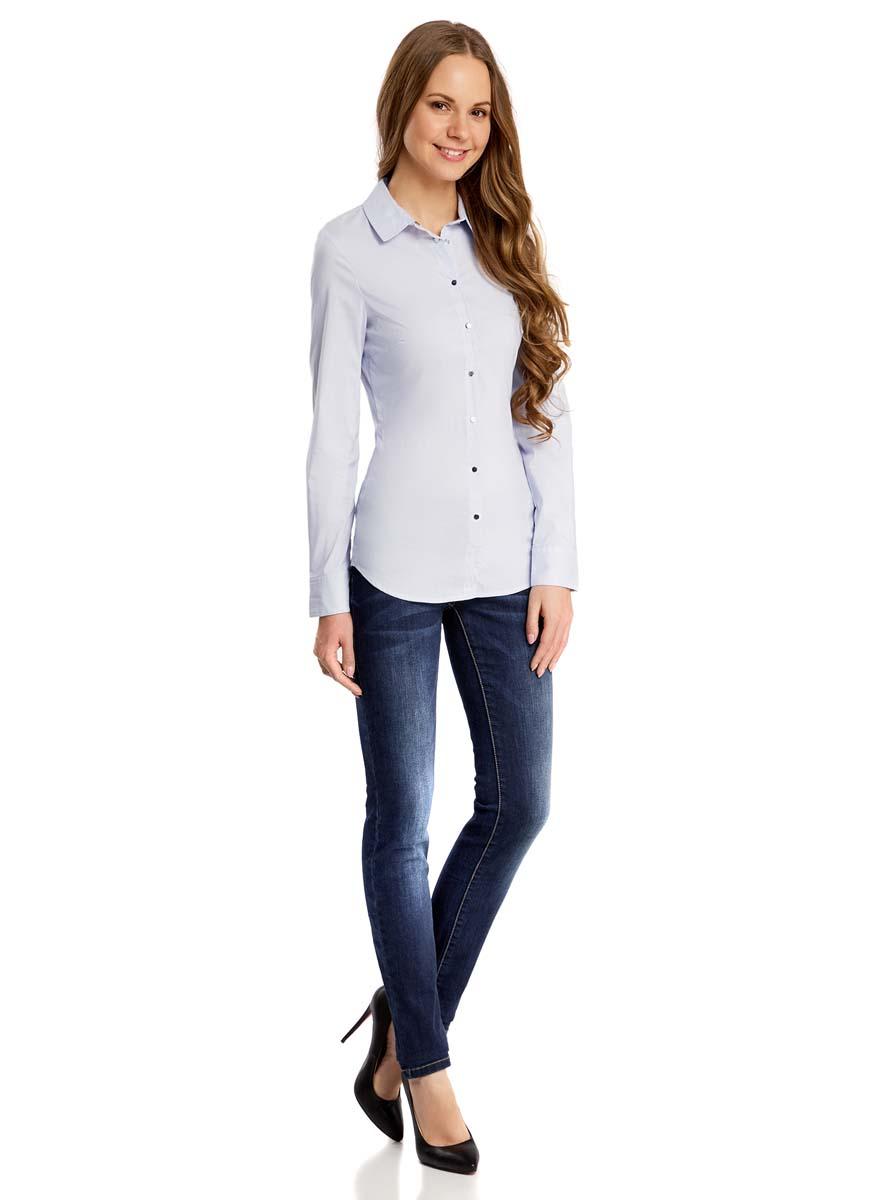 Блузка21406034/45666/7010SЖенская блузка oodji Collection плотно садится по фигуре. Блузка имеет длинные рукава и классический воротник. Застегивается спереди и на манжетах на кнопки.