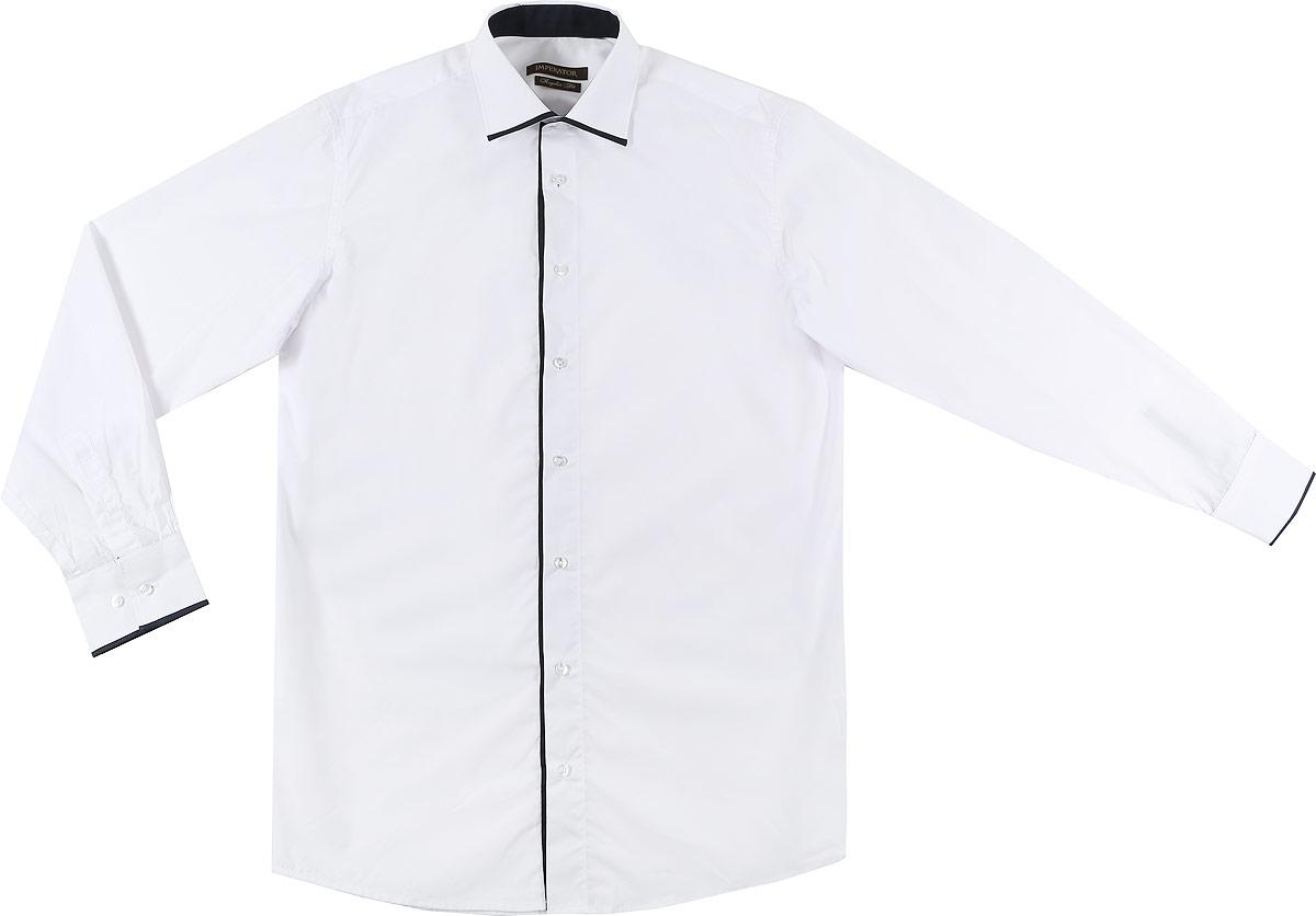 PT2000-47Мужская рубашка Imperator выполнена из хлопка с добавлением полиэстера. Рубашка прямого кроя с длинными рукавами и отложным воротником застегивается на пуговицы. Манжеты рукавов также дополнены застежками-пуговицами.