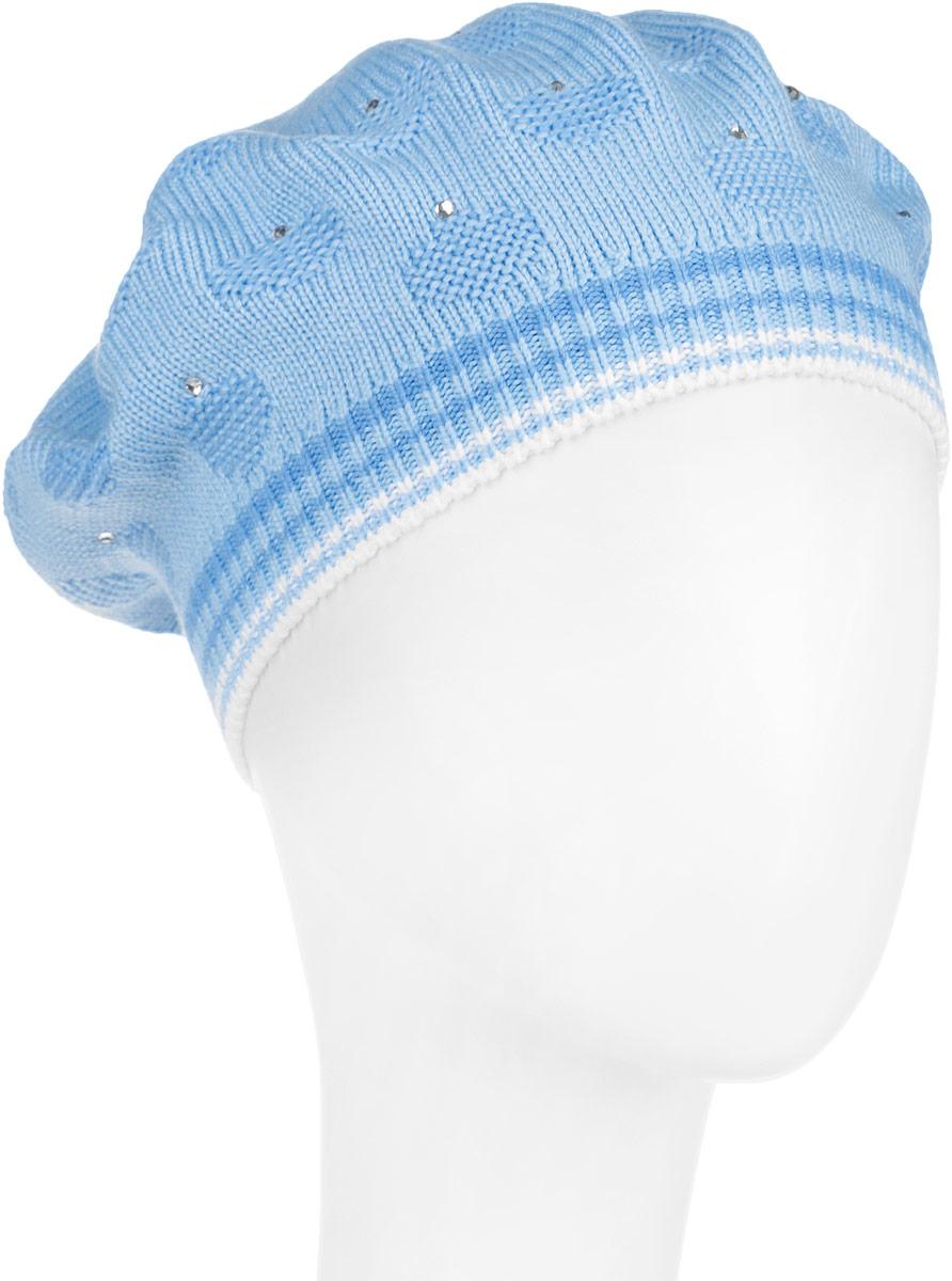 Шапка детскаяDB3623-22Теплый берет для девочки ПриКиндер выполнен из сочетания высококачественного акрила и теплой шерсти. Берет оформлен по краю трикотажной резинкой. Модель декорирована блестящими стразами и вязкой с узором. Уважаемые клиенты! Размер, доступный для заказа, является обхватом головы.