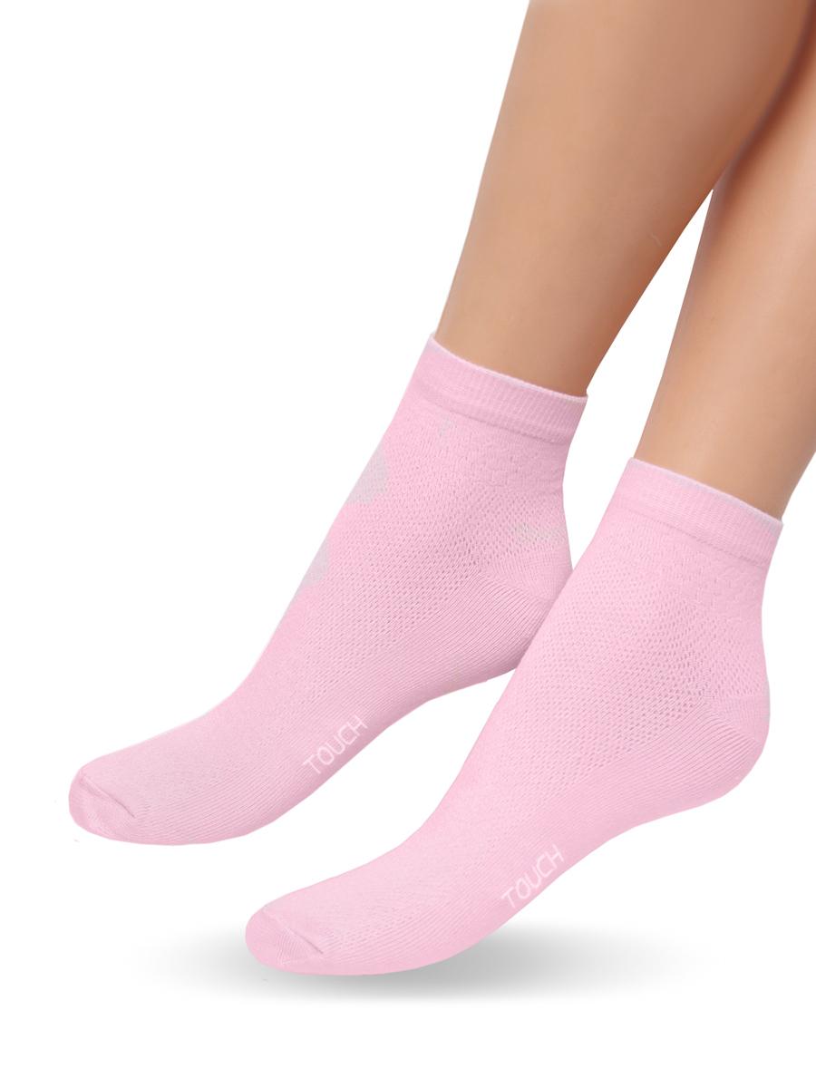 Носки263Удобные облегченные женские носочки Touch Gold из лучших сортов длинноволокнистого хлопка с добавлением эластановых волокон. Верхняя часть сплетена сеточкой, что позволяет ножкам дышать. Так же эту модель отличает уплотненный след, носок и пяточка для повышения износостойкости, а так же двойная резинка для лучшей фиксации на ножке. Модель со слегка укороченным паголенком. Вы по достоинству оцените эти легкие и в то же время прочные носочки.