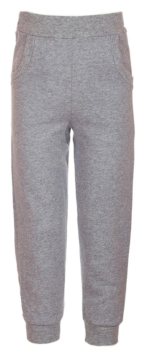 Брюки спортивныеБ1912-5Спортивные брюки для девочки выполнены из натурального хлопка. Брюки на талии имеют широкую эластичную резинку, благодаря чему, они не сдавливают живот ребенка и не сползают. Спереди предусмотрены два втачных кармашка. Низ брючин дополнен эластичными манжетами.