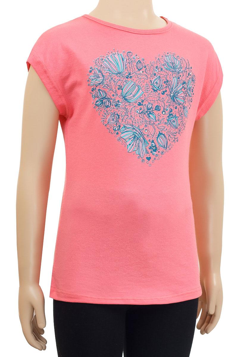 SSF262C19-2аФутболка для девочки M&D сделает образ ребенка ярким и интересным. Изготовленная из мягкого эластичного хлопка, она приятная на ощупь, не сковывает движения и хорошо пропускает воздух, обеспечивая комфорт. Футболка с круглым вырезом горловины и короткими рукавами оформлена принтом с изображением сердечка из цветов. Изделие декорировано стразами. Стильный дизайн и высокое качество исполнения принесут удовольствие от покупки и подарят отличное настроение!