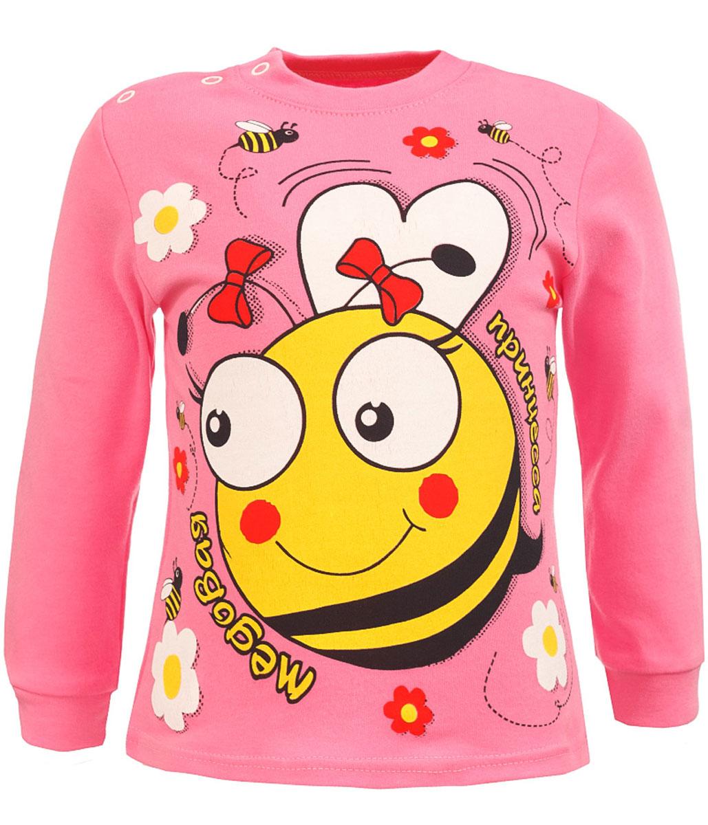 KF904-5Стильная футболка с длинным рукавом M&D для девочки выполнена из натурального хлопка, на плече имеет застежки-кнопки. Модель с круглым вырезом горловины и длинными рукавами оформлена оригинальным принтом с изображением пчелки.