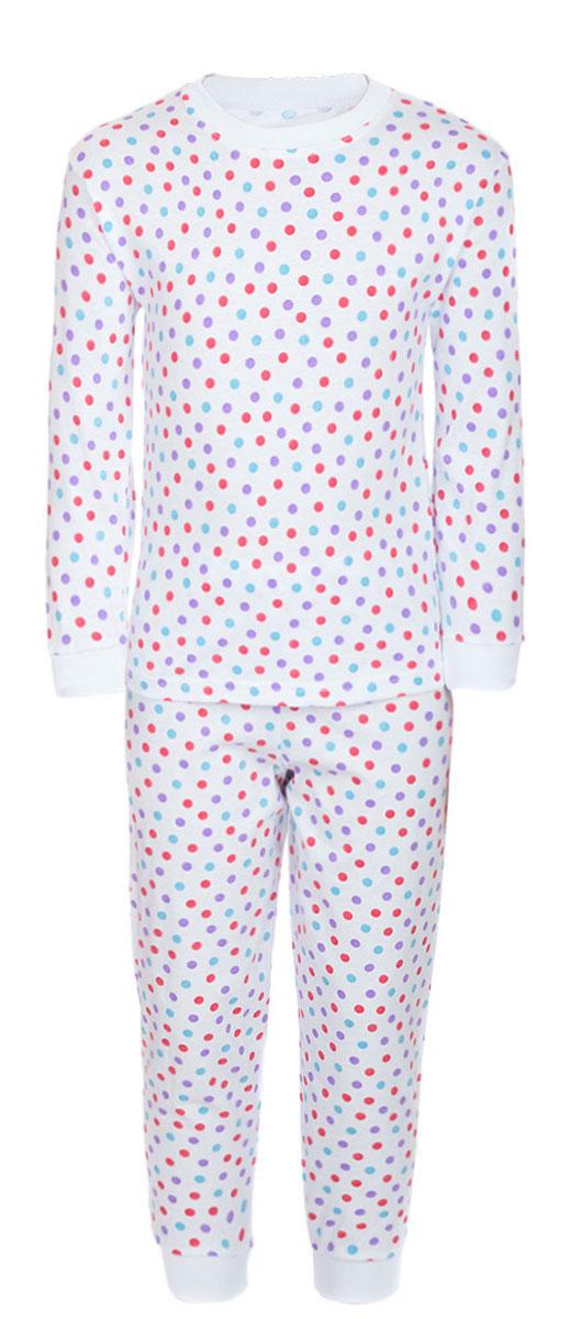 ПижамаПЖ180325Уютная детская пижама M&D, состоящая из лонгслива и брюк, изготовлена из натурального хлопка. Лонгслив с длинными рукавами и круглым вырезом горловины оформлен стильным принтом в горох. Брюки на талии имеют эластичную резинку. Вырез горловины, манжеты рукавов и низ брючин дополнены трикотажными резинками.