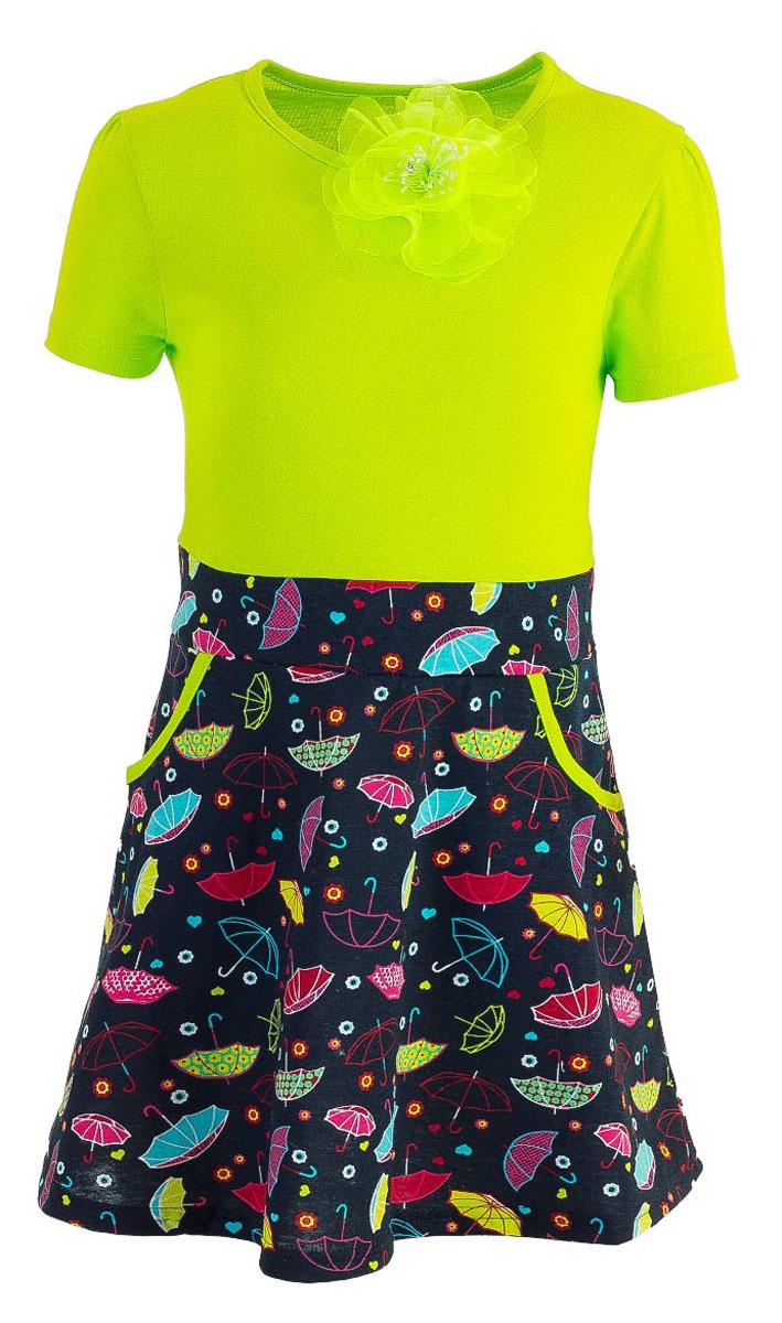 WD5431A-14Модное платье для девочки выполнено из натурального хлопка. Модель с круглым вырезом горловины и короткими рукавами дополнено съемной брошкой. Спереди платье оснащено двумя втачными кармашками.
