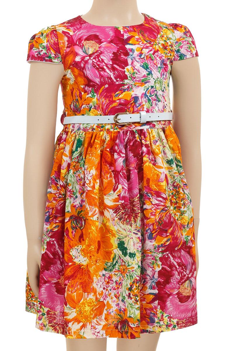 ПлатьеSSP1620-3Платье M&D collection полностью выполнено из хлопка и оформлено оригинальным цветочным принтом. Модель с коротким рукавом-фонариком и круглым вырезом застегивается сзади с помощью молнии. Подкладка и подъюбник выполнены из хлопка. Платье оснащено тонким ремнем из искусственной кожи, который застегивается с помощью металлической пряжки.