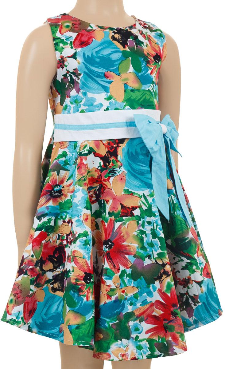 ПлатьеSSP1615-10Очаровательное платье для девочки M&D collection идеально подойдет вашей маленькой моднице. Платье на подкладке изготовлено из натурального хлопка, легкое и приятное к телу. Платье с круглым вырезом горловины застегивается по спинке на скрытую молнию, что помогает при переодевании ребенка. На талии платье дополнено вшитым поясом и текстильным оригинальным бантиком. Изделие оформлено красочным цветочным цветочным принтом.