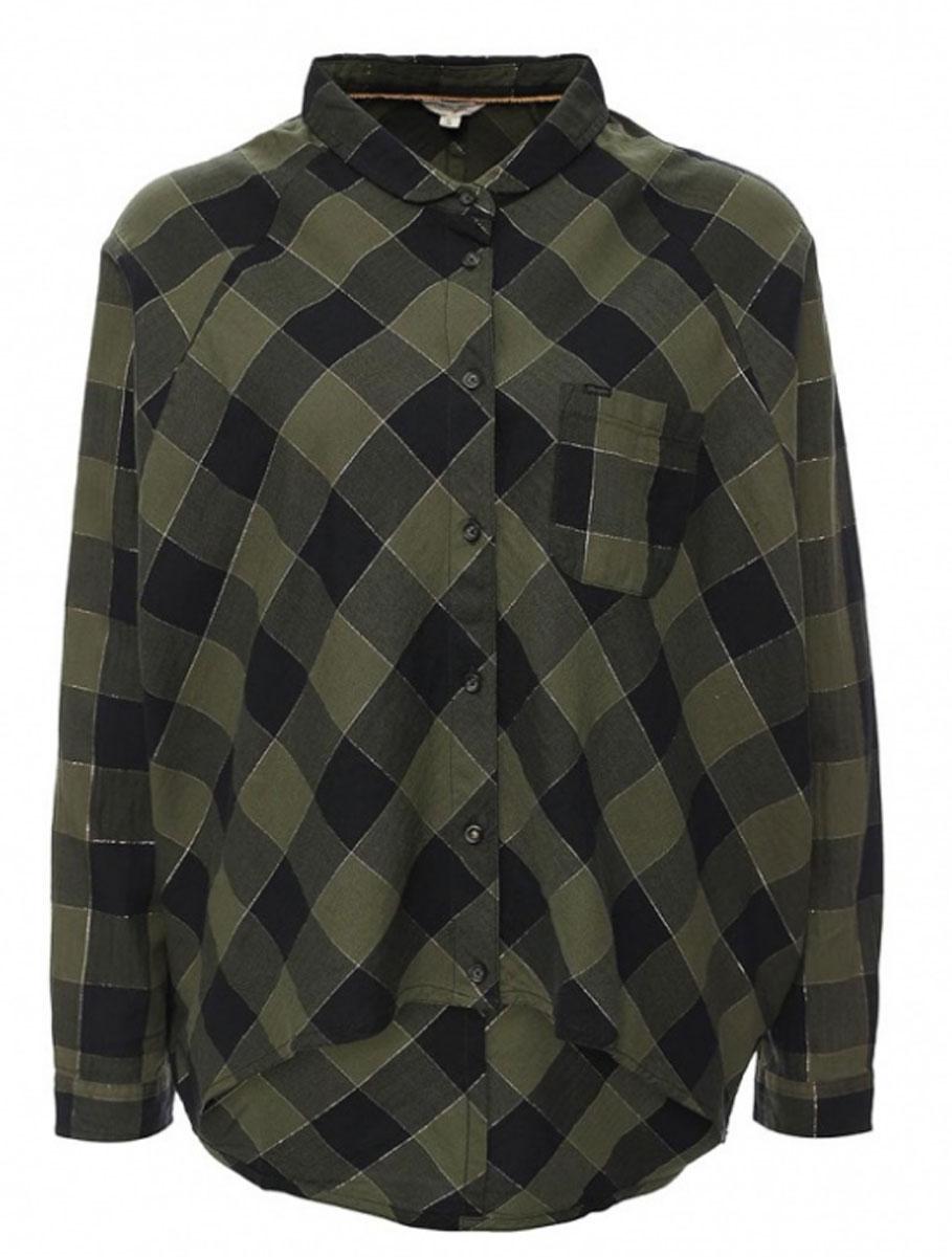 РубашкаW5176C8FRСимпатичная женская рубашка Wrangler, изготовлена из высококачественного материала. Модная рубашка с рукавами летучая мышь и отложным воротником, полукруглым низом, застегивается на пуговицы. Спинка модели удлинена. Спереди изделие дополнено накладным кармашком.