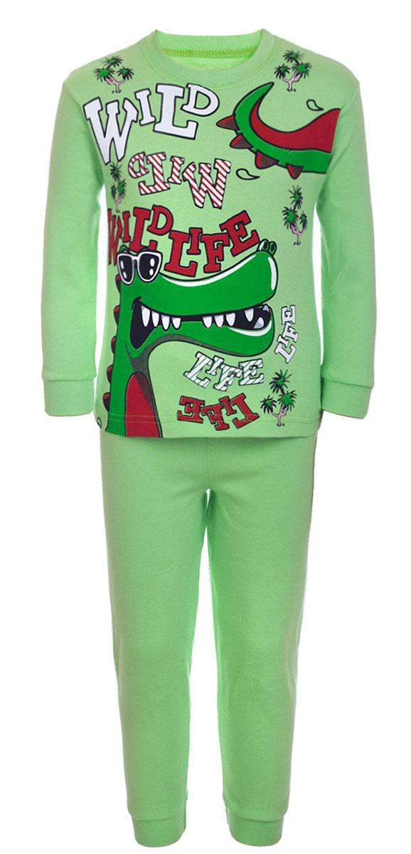 ПижамаПЖ180114П-14Уютная детская пижама M&D выполнена из натурального хлопка. В комплект входит футболка с длинными рукавами и брюки. Футболка с длинными рукавами имеет круглый вырез горловины, оформленный трикотажной резинкой. Брюки имеют эластичный пояс. На рукавах и на брючинах предусмотрены трикотажные манжеты.