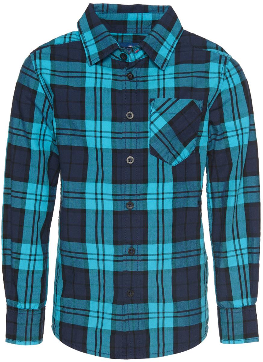 Рубашка2032512.00.82_6019Рубашка Tom Tailor для мальчика выполнена из высококачественного материала. Модель классического кроя с длинными рукавами и отложным воротником застегивается на пуговицы по всей длине. На манжетах предусмотрены застежки-пуговицы. Модель оформлена принтом в клетку и дополнена на груди накладным карманом.