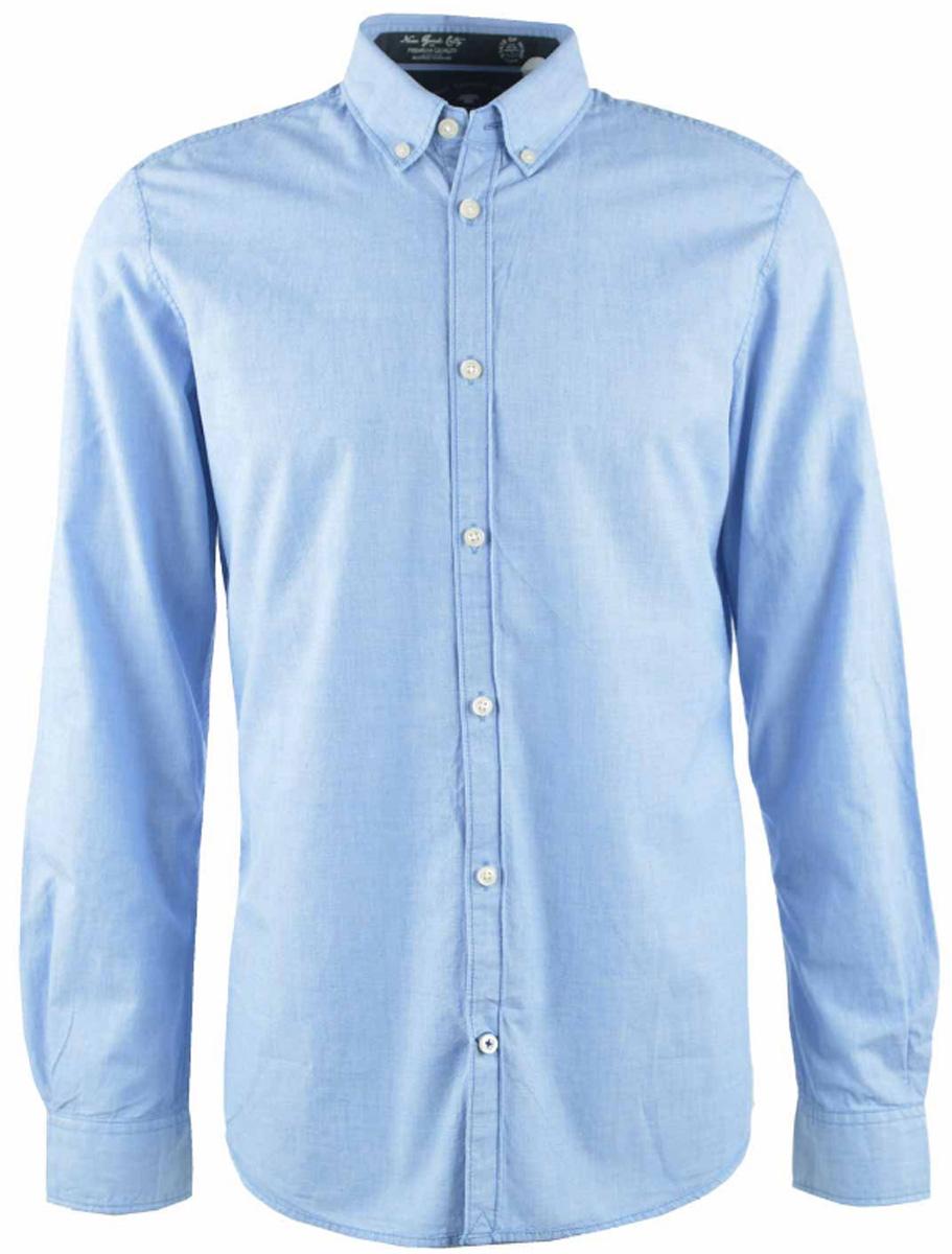2032635.00.10_6930Стильная мужская рубашка Tom Tailor изготовлена из натурального хлопка. Модная рубашка с длинными рукавами и отложным воротником застегивается на пуговицы. Рукава дополнены манжетами на пуговицах.