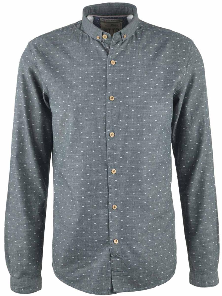Рубашка2032745.00.12_2801Мужская рубашка Tom Tailor Denim изготовлена из натурального хлопка. Рубашка с отложным воротником и длинными рукавами застегивается на пуговицы по всей длине. Низ изделия имеет округлую форму.