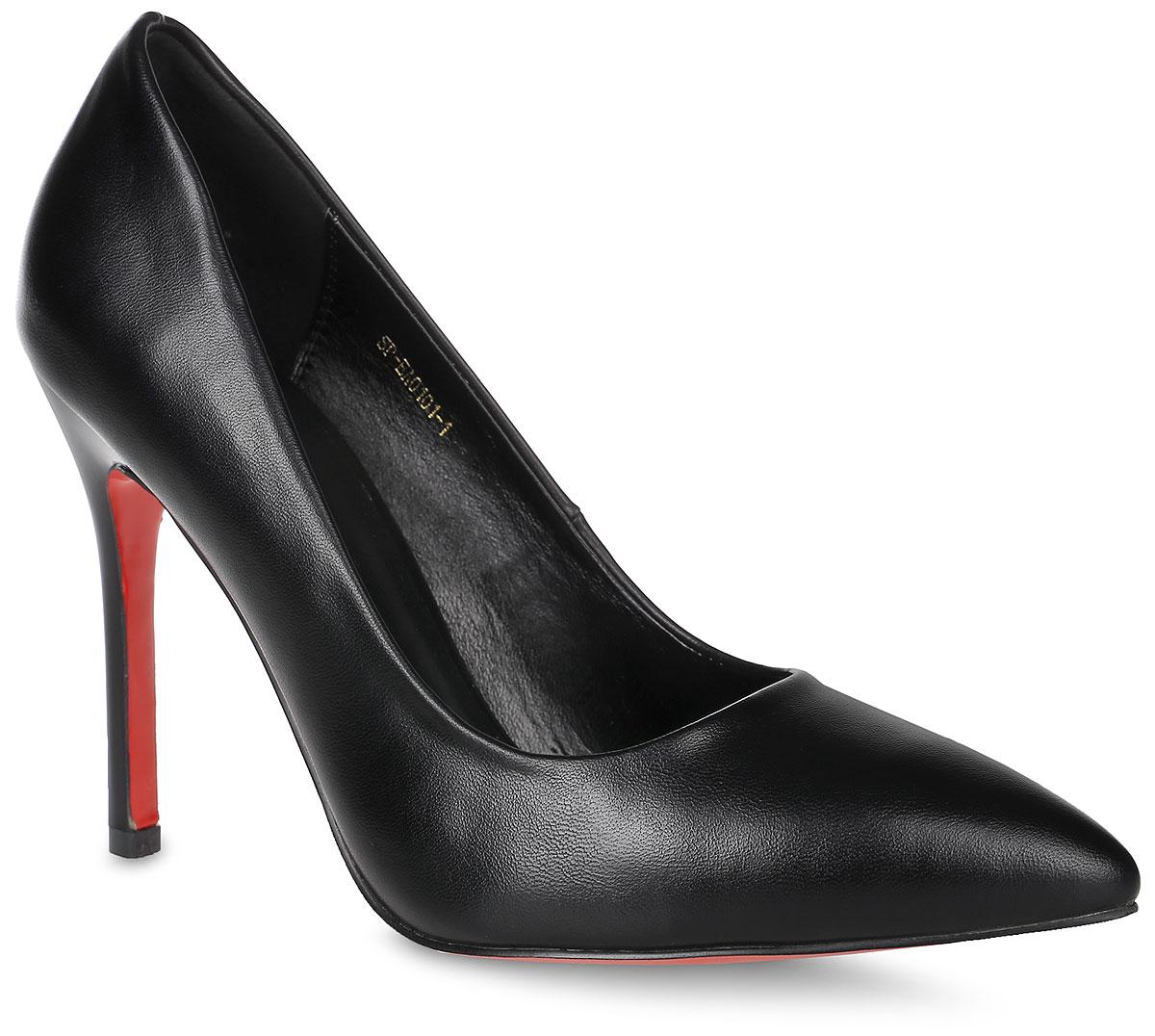 SP-EA0101-1Элегантные туфли выполнены из искусственной кожи. Стелька выполнена из натуральной кожи, которая обеспечит комфорт при движении и предотвратит натирание. Модель оснащена высоким каблуком - шпилькой. Подошва выполнена из термопластичного материала.