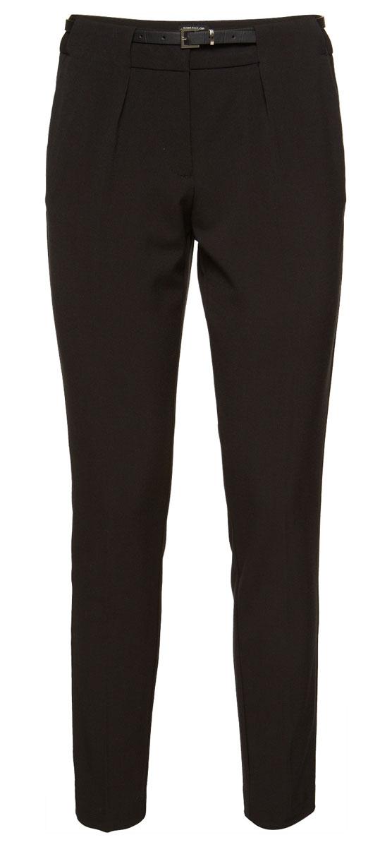 Брюки6404761.00.75_2999Стильные женские брюки Tom Tailor Contemporary выполнены из полиэстера и вискозы с добавлением эластана. Классические брюки стандартной посадки застегиваются на пуговицу и два крючка в поясе и ширинку на застежке-молнии. Изделие имеет шлевки для ремня. Спереди модель оформлена двумя втачными карманами, сзади - имитацией прорезного кармана. В комплект входит стильный ремень с металлической пряжкой.