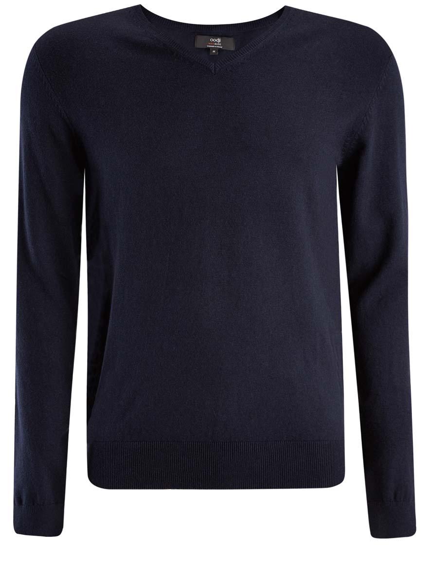 Пуловер4B212004M/39796N/2900NМужской пуловер oodji изготовлен из мягкого эластичного материала. Модель имеет V-образный вырез горловины и длинные рукава. Вырез горловины, манжеты и низ изделия связаны резинкой.